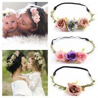 Weaving Holiday Baby Mom Headwear Girl Flower Hairband Bridal Head Band
