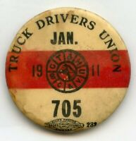 1911 Truck Drivers Union 705 Pin January Vintage Button Pinback Red - BJ60