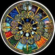 Nice! Astrological Wheel 2-Sided Window Sticker Decal Wiccan Pagan WA378