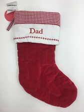 Pottery Barn Kids Christmas Stocking Dad Red Velvet Quilted NEW
