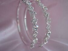 CRYSTAL HOOP EARRINGS SIZE 60mm  ROUND & SQUARE DESIGN  SILVER PLATED