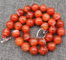"""10mm Natural Red Stripe Agate Onyx Gems Necklace 18"""" Tibetan silver love clasps"""