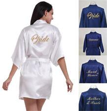 Silk Satin White/Navy Blue Robe Bride Bridesmaid Wedding Gown Kimono Bathrobe