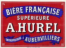 """""""BIERE A. HUREL""""Affiche d'intérieur originale entoilée Litho début 1900 41x31cm"""