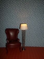 FLOOR LAMP -  SILVER  - LED BATTERY OPERATED  - DOLL HOUSE MINIATURE