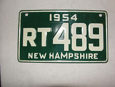 1954 DATED,NEW HAMPSHIRE BIKE LICEANSE PLATE,RT 489 OLD 58 YR OLD PLATE