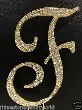 "GOLD Plated Rhinestone  Monogram Letter ""F""  Wedding Cake Topper  5"" inch high"