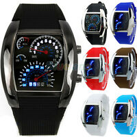 MENS BOYS COOL TURBO BLUE LED FLASH RPM DATE CALENDAR DASHBOARD STYLE WATCH B32K