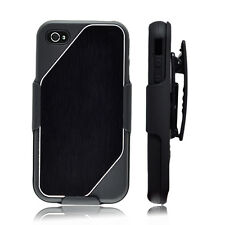 IPHONE 4S 4 CASE COMBO 3 IN 1 BLACK CLIP BELT WITH HOLSTER