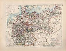 1899 Victorien Carte ~ Empire de Allemagne Montrant Minor États
