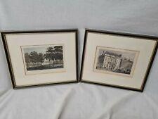 2 x Antique Aquatint Prints: Wanstead House & Auction Mart St Bartholomew's Lane