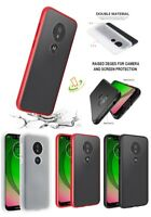 For Motorola Moto G7 PLAY Slim Hybrid Rubber TPU Shockproof Case Frosted Cover