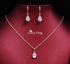 Necklace Earrings Set 18k Gold Plated Wedding Gift Chain Pendant UK Seller