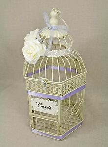 Wedding Birdcage Card Holder Vintage Ivory & Lavender Light Purple, Pearl,