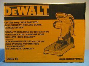 "NEW DEWALT D28715 ABRASIVE CHOP SAW CORDED QUICK CHANGE FENCE 14"" BLADE 15 AMP"