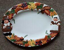 Publix Pilgrim Pair Oval Serving Platter Plate Thanksgiving Pumpkin Autumn