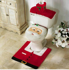 3PCS/Set Christmas Xmas Decoration Santa Toilet Seat & Cover & Rug Bathroom Mat