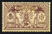 New Hebrides 30 Cent Stamp c1911 Mounted Mint (French Issue) (605)