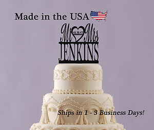 Mr & Mrs Cake Topper, Last Name, Wedding Date, Anniversary, Personalized, LT1020