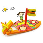 Kids Retro Wooden Wind Up Rubber Band Power Paddle Boat Water Tub Pool Toy MP