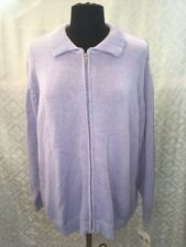 Elizabeth Liz Claiborne Womens 1 Plus Purple Violet Cardigan Sweater Zip Front