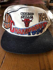 NWT -1996 Chicago Bulls Locker Room NBA Champions Hat Loco Athletic Leather Ball