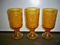 3 INDIANA GLASS AMBER TIARA PEDESTAL GOBLETS  6 1/4 INCHES