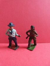 Britains Lead Cowboy And Indian x2 Vintage Lead Toy Soldiers * 1940/50s * Rare