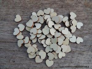 "100 qty 1/2"" Blank Light Wood Hearts Table Confetti Wooden Wedding Heart Shape"