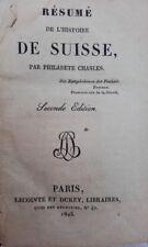 SUISSE Résumé de l'histoire de Suisse 1825