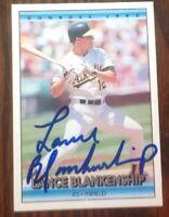 Lance Blankenship Hand Signed 1992 Donruss Baseball Card Oakland A's