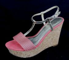 Adrianna Papell women's shoes gold metallic melon jeweled wedges size 7M