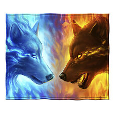 Dawhud Direct Fire and Ice Wolves Super Soft Plush Fleece Throw Blanket