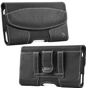 """iPhone 13 Pro (6.1"""") - BLACK Suede Leather Pouch Holder Belt Clip Holster Case"""