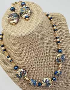 "Blue and Gold Venetian Art Glass Bead Necklace16"" and Earrings"