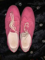 Maybury Ladies Womens Smart Casual Fushia Suede Lace Up Brogues Shoes Size 6