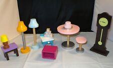 Huge lot of Wooden KidKraft Barbie Furniture & Accessories Tables, Clock, Lamps+