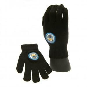 Manchester City FC Official Crested Junior Knitted Gloves Man City Present Gift