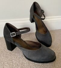 """Seasalt """"Evie"""" Grey Suede Mary Jane Shoes Size 38 UK5 NEW"""