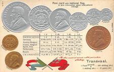 TRANSVAAL AFRICA COINS FLAG TABLE RATE EMBOSSED PATRIOTIC POSTCARD (c. 1910)