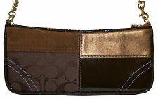 Coach 10427 Women's Purse Large Wristlet Patchwork Signature Brown Leather Suede