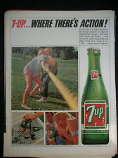 1965 VTG Original Magazine Ad 7 Up Soda Tug Of Ware Where's There's Action Drink