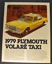 1979 Plymouth Volare Taxi Cab Sales Brochure Sheet Excellent Original 79