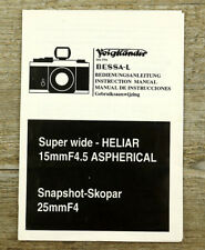 VOIGTLÄNDER Anleitung BESSA L HELIAR 15mm F/4.5 SKOPAR 25mm F/4 Manual X6083