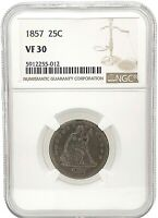 1857 Seated Liberty Silver Quarter 25C  VF 30 Graded  By NGC, Toned.