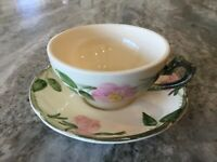 "Desert Rose by Franciscan 2 1/4"" FLAT CUP & SAUCER SET, Made in USA"