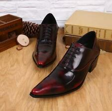 Mens England Style Cuban Heel Stylish Lace Up Pointy Toe Dress Formal Shoes R667