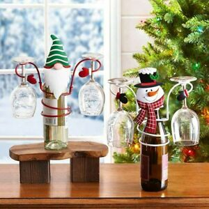 Wine Bottle Glass Holders Countertop Hold 1 Wine Bottle and 2 Glasses Home Decor