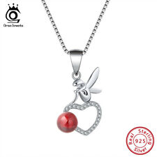 Natural Red Garnet Elf Heart Pendants Women Necklaces Chain 925 Sterling Silver