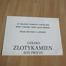 CARTON D'INVITATION EXPOSITION ZLOTYKAMIEN GALERIE CHARLEY 1984
